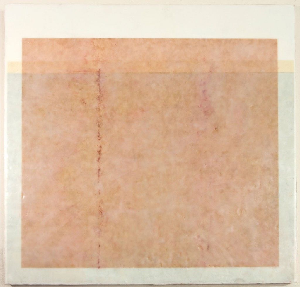 CONSTANT 1 - 20x20 - Wax, Paper and Chalk on Panel - 2010