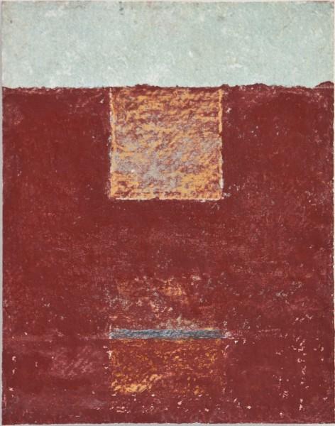 Spaces Between 2, mixed media on Khadi, 8 x 5, 2013