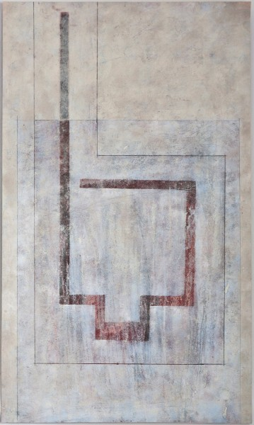 Spaces Between 1, mixed media on Kozo, 24 x 14, 2013