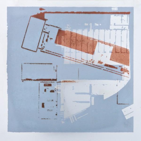 Krista Svalbonas - Flensburg 2, Aluminum and copper photo-serigraph on mylar, 9x9, 2013