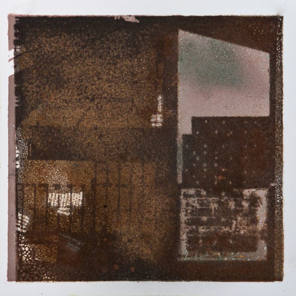 Krista Svalbonas - Wolterdingen 2, oxidized copper and iron photo-serigraph on mylar, 9x9, 2013