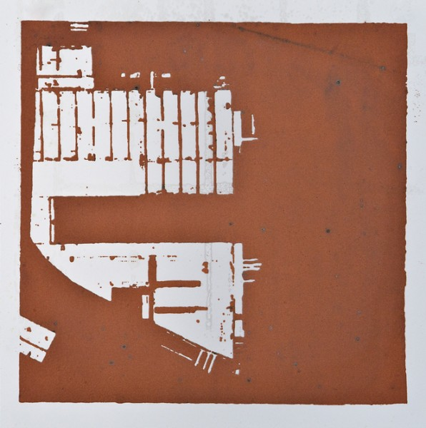 Krista Svalbonas - Flensburg 1, copper photo-serigraph on mylar, 9x9, 2013