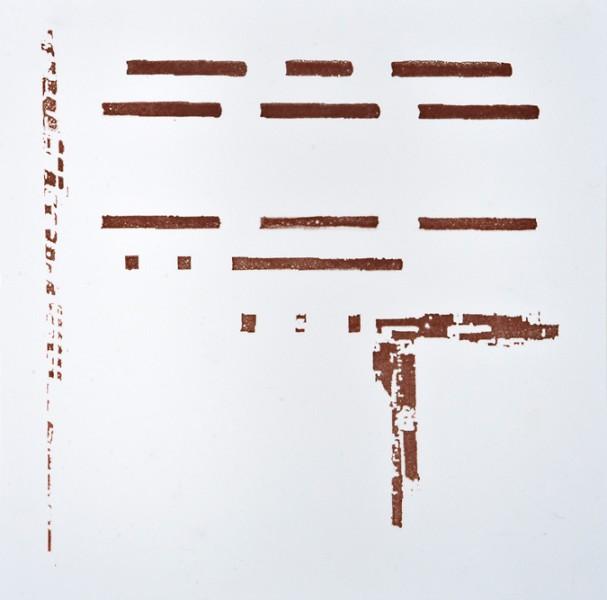 Krista Svalbonas - Lahde 2, copper photo-serigraph on mylar, 9x9, 2013