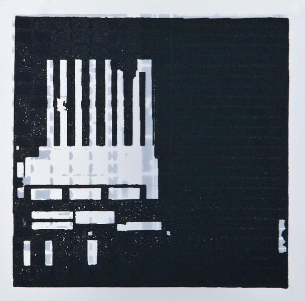 Krista Svalbonas - Esslingen 2, aluminum and blacksmith powder photo-serigraph on mylar, 9x9, 2013