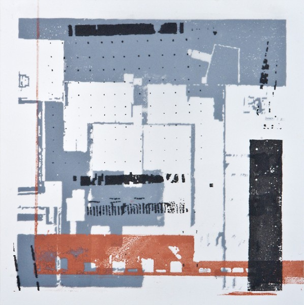 Krista Svalbonas - Wurzburg 2, blacksmith powder and copper photo-serigraph on mylar , 9x9, 2013