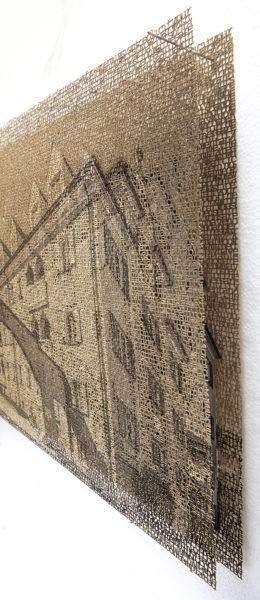 Augsburg Hochfeld, layered laser cut pigment print, 14x21,2018